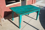 Ocean blue table made from antique reclaimed lumber